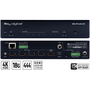4x1 18G HDMI Switch, Optical/Balanced Audio Out, IP Control